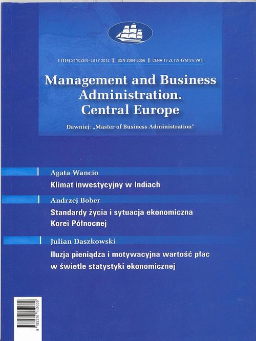 Management and Business Administration. Central Europe - 2012 - 1