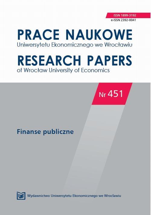 Prace Naukowe Uniwersytetu Ekonomicznego we Wrocławiu nr 451. Finanse publiczne