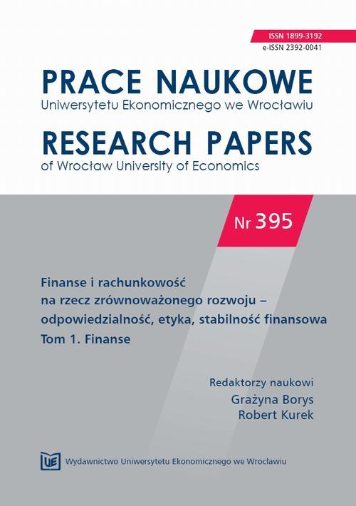 Finanse i rachunkowość na rzecz zrównoważonego rozwoju – odpowiedzialność, etyka, stabilność finansowa  Tom 1. Finanse. PN 395