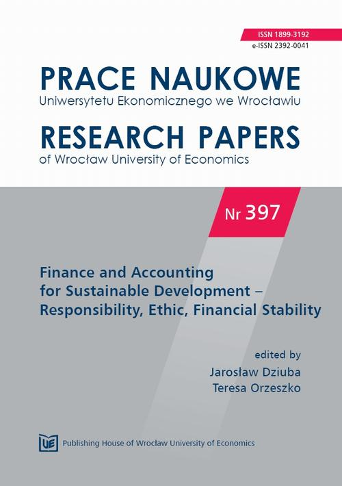 Finance and Accounting for Sustainable Development – Responsibility, Ethic, Financial Stability. PN 397
