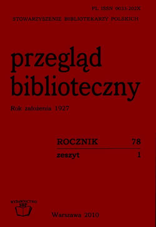Przegląd Biblioteczny 2010, Zeszyt 1
