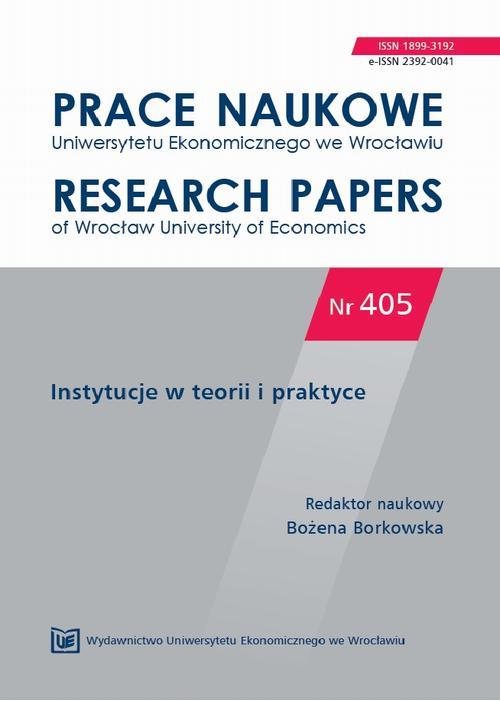 Prace Naukowe Uniwersytetu Ekonomicznego we Wrocławiu nr 405