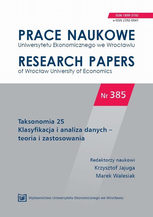 Taksonomia 25. Klasyfikacja i analiza danych – teoria i zastosowania. PN 385