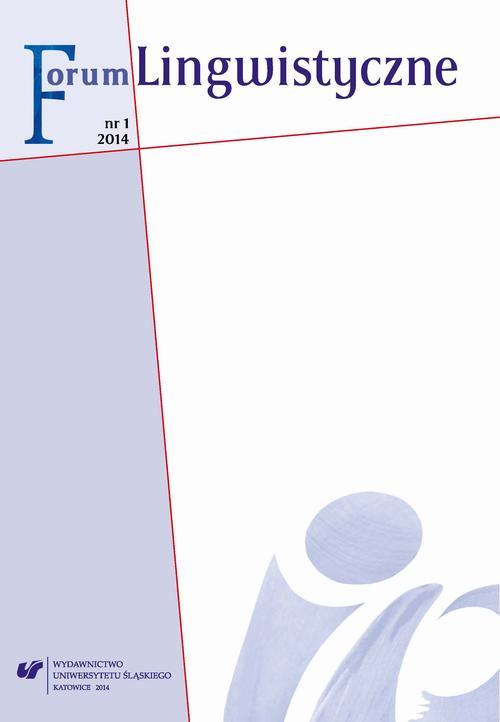 """""""Forum Lingwistyczne"""" 2014, nr 1 - 01 Dyskurs medialny - przegląd stanowisk badawczych"""
