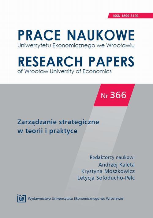 Zarządzanie strategiczne w teorii i praktyce. PN 366