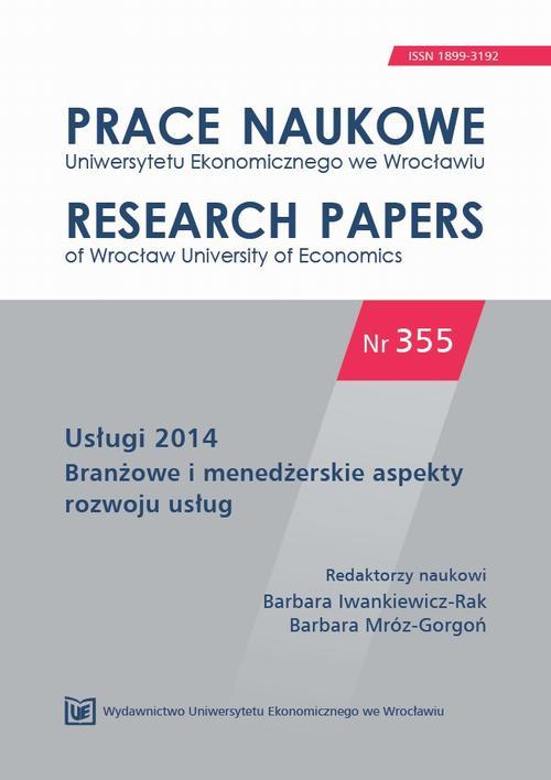 Usługi 2014. Branżowe i menedżerskie aspekty rozwoju usług. PN 355