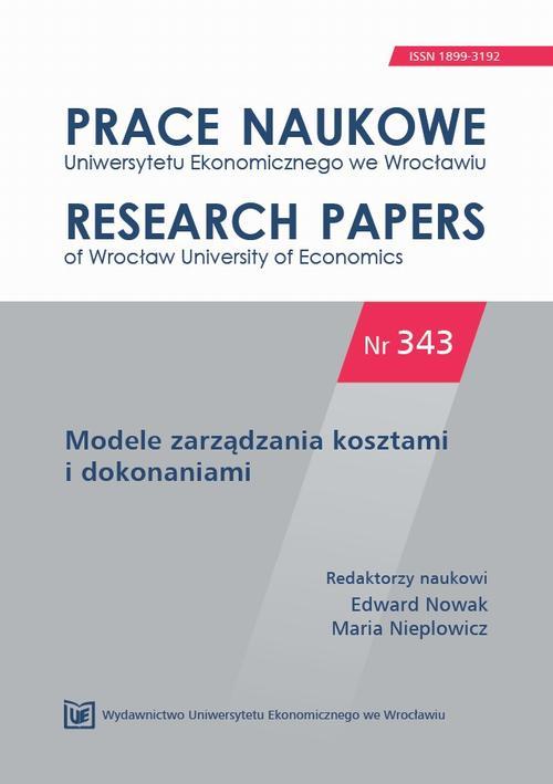 Modele zarządzania kosztami i dokonaniami. PN 343